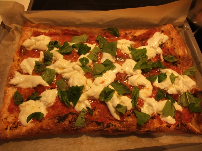Mozzarella and basil tart.